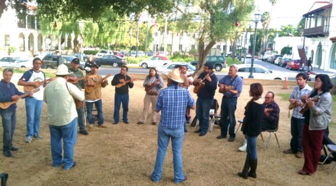 Los Soneros del Tesechoacán perform the music and dance of Veracruz at Casa de La Guerra.