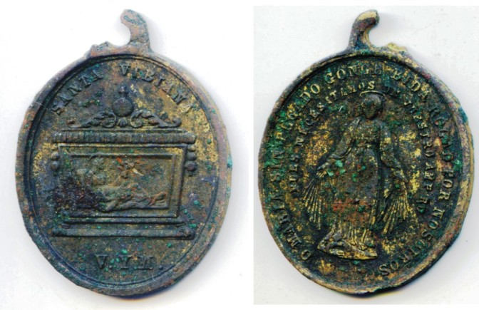The St. Vibiana medal after cleaning.  Photo By Mike Imwalle.