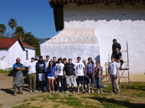 SBTHP Maintenance Supervisor Eduardo Garcia (left) with the Cate School crew. Photo by Brittany Avila.