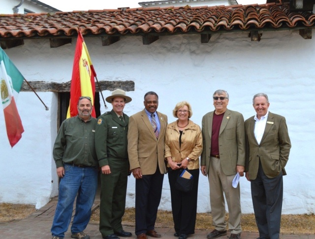 Micahel Imwalle, Richard Rozzelle, Anthony Jackson, Susan Jackson, Jarrell Jackman and John Poucher at the entrance to El Cuartel at El Presidio SHP, the oldest building in the California State Parks system. Photo by Michael Imwalle.