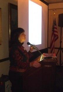 Dr. Julianne Burton-Carvajal presenting at the Westerners meeting April 4. Photo by Anne Petersen.