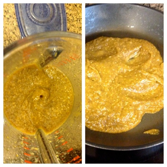 Finished to a puree in the blender and then simmering on medium level heat just enough to warm up meat choice and the chile verde. Photo by Brittany Avila.