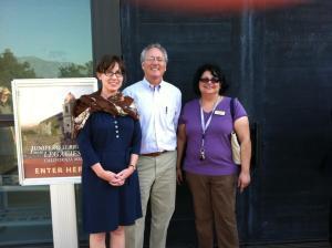 Anne Petersen, Steven Hackel and Monica Orozco, director of the Santa Barbara Mission Archive-Library. Photo courtesy of Monica Orozco.