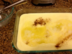 Make sure to spread the egg white mixture as evenly as possible over the custard. Photo by Brittany Avila.