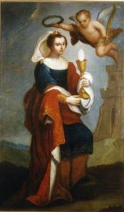 Saint Barbara by Jose de Alcibar, 1787. From the collections of Our Lady Of Sorrows Church, on display in the Santa Barbara Presidio Chapel.