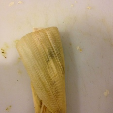 This is a tamale made from one of the smaller husks I used. I was still able to fold it, but it was a bit more difficult. Photo by Brittany Avila.