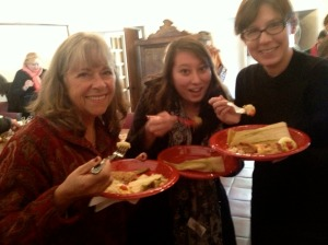 Our Associate Director for Business Affairs Sally Fouhse, SBTHP Intern Mika Thornburg and Associate Director for Historical Resources Anne Petersen all immensely enjoying the final product of this recipe at our Docent Holiday Potluck! Photo by Brittany Avila.