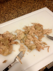 I used two forks to shred my pork—one to hold the pork down and the other to pull it apart. Photo by Brittany Avila.