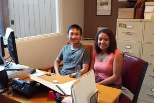 Kenny Le and Myisha Stanford during their internship at SBTHP's Presidio Research Center. Photo by Anne Petersen.