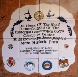 Jeannie Davis's recreation of the enameled plaque honoring the California Conservation Corps' contributions to El Presidio SHP. Photo by Michael Imwalle.