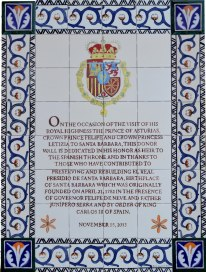 The completed plaque honoring Prince Felipe destined for the donor wall at El Presidio SHP.
