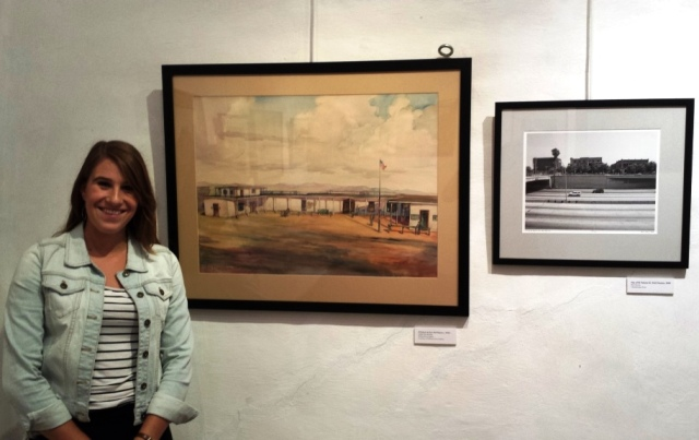 Intern Kate Borchard with her favorite Klinker Dewey pair, El Palacio de Abel Stearns, and the same site today. Photo by Anne Petersen.