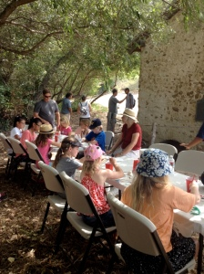 Families enjoying art activities at the Santa Ines Mission Mills.  Photo by Christa Clark Jones.