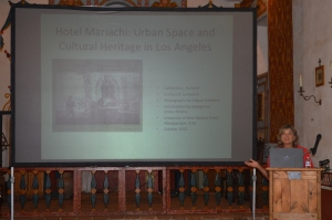 Catherine Kurland speaking about her book, Hotel Mariachi. Photo by Mike Imwalle.