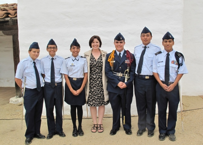 Oxnard High School's Air Force Junior ROTC Saber Team with Education Director Melissa Chatfield. Photo courtesy of Melissa Chatfield.