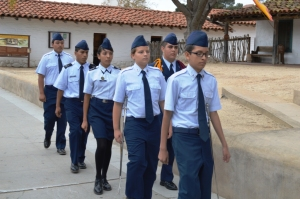 Oxnard High School's Air Force Junior ROTC Saber Team. Photo by Mike Imwalle.