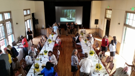 Park Commissioners, Channel Coast District staff and SBTHP staff gather for dinner in the Alhecama Theatre. Photo by Mike Imwalle.