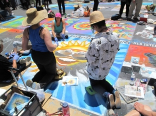 Community contributions to the I Madonnari Street Painting Festival 2015. Photo by Melissa Chatfield.