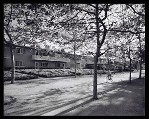 Village Green in 1958. Job 2592: Robert Evans Alexander, Reginald D. Johnson, and Wilson and Merrill, Architects, Baldwin Hills Village (Los Angeles, Calif.), 1958, by Julius Shulman. © J. Paul Getty Trust.