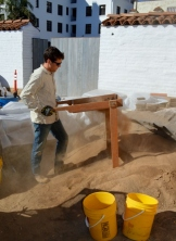 """Sifting excavated soil through 1/8"""" screens. Photo by Mike Imwalle."""