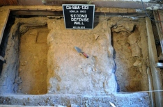 Intact section of second defense wall beneath the Bonilla House. Photo by Mike Imwalle.