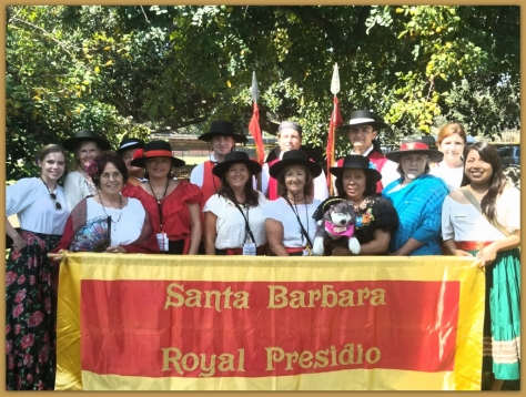 Participants in SBTHP's Old Spanish days parade entry representing El Presidio de Santa Barbara State Historic Park.  Photo courtesy of Suzi Bellman.