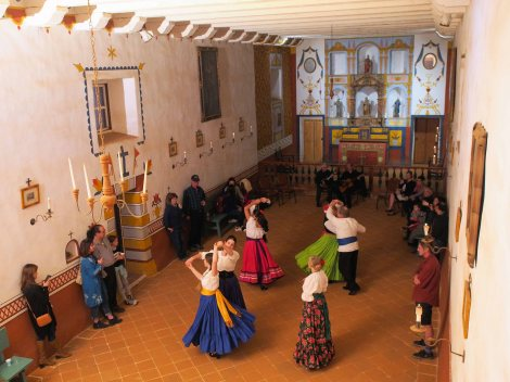 Baile de California leads an Early California dance demonstration in the Presidio Chapel. Photo by Dr. Paul Mori.